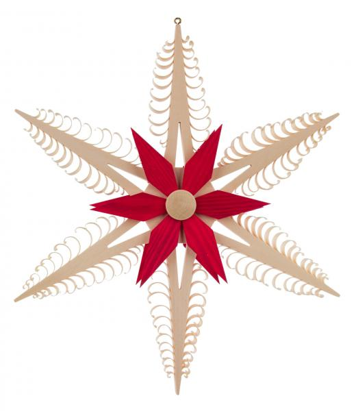 ornament star red/natural